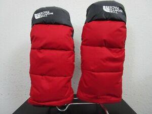 Mens S-M-L-XL North Face Nuptse Mitt 550-Down Mitten Winter Gloves Red / Black