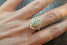 9ct Natural Opal Cluster Ring - Size O - Vintage