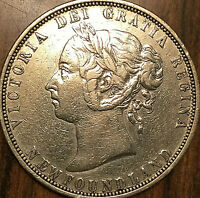 1882 NEWFOUNDLAND SILVER 50 CENTS VICTORIA FIFTY CENTS COIN - Excellent example!