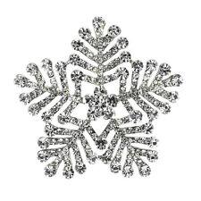 Vintage Style White Winter Snowflake Elegant Shiny Diamante Brooch Pin BR402