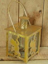 Metall - Laterne mit Henkel, Motiv  Engel, Farbe Gold, mit Henkel ca. 24 cm