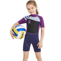 Neoprene Wetsuit Girls Boys 2.5mm Short Sleeve One Piece UV Protection Swimsuit