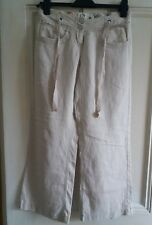 RIVER ISLAND LADIES SMART LINEN SUMMER TROUSERS BEIGE TYING LOOSE FLARE SIZE 6S