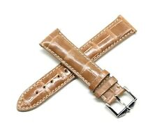 Rotary 21MM Genuine Alligator Skin Leather Watch Strap Band LIGHT BROWN Silver