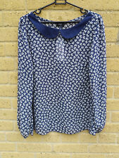 F&F Semi Sheer Blouse Peter Pan Collar Navy Blue with Bow Pattern Size 12 BNWT
