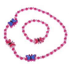 Fashion Jewelry Cute Girl's Butterfly Wood Beads Necklace Bracelet Jewelry Sets