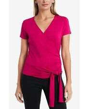 Vince Camuto Womens Wrap Top Pink Size Small S Solid Side-Tie Blouse $59 201