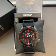 NEW Seiko Men's 5 Sports Mens Automatic SRPD83K1 Black Neon Red Dial Nylon band