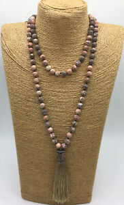 Free shipping Fashion long knot leopard skin jasper stone beads Tassel necklace