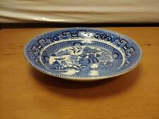 """Antique Buffalo Pottery Blue Willow Bowl 7.5"""" Cereal Soup Bowl Semi Vitreous"""