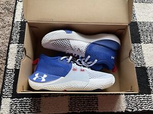 NIB Under Armour Boys Youth Embiid One Basketball Shoes Size 7 - White/Blue
