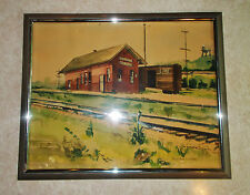 Rose Ann Ludford Impressionist Watercolor Painting Drummond Train Depot  c.1950