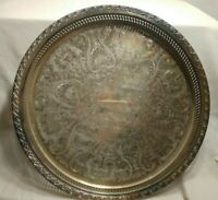 "William Rogers 15"" Silver on Copper Round Gallery Serving Tray Gadrooned Edge"