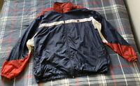 Men's Vintage Wilson Windbreaker Jacket Full Zip Red, White, and Blue Size XXL