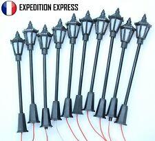 LOT DE 10 LAMPADAIRES A LED HO 1/87 65mm JOUEF LIMA ROCO+10 RESISTANCES 510Ohms