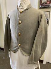 """Civil War CSA Light-Grey WOOL Shell Jacket, SZ 38"""" chest. Handsewn details"""