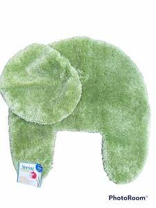 NEW! VTG Springs Springmaid Bath Rug Toilet Lid Cover Celery Green USA Nylon