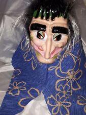 Hexenmaske mit Kopftuch blau und Haaren Hexe Halloween Hexenkostüm 129208513