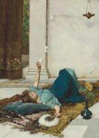 Dolce Far Niente, 1879, JOHN WILLIAM WATERHOUSE Pre-Raphaelite Poster