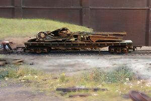 OO gauge abandoned wagon with scrap load, heavily rusted and weathered. Ref 6