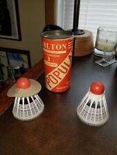 Carlton Shuttlecocks Badminton Vtg Can Tin Tube 2 Birdies England New Unused
