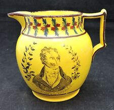 Staffordshire Canary Luster Pitcher with Black Transfer Print - Early 19th C.