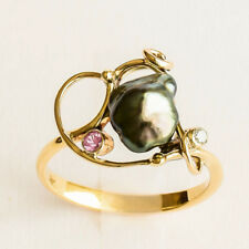 NATURAL TAHITIAN KESHI PEARL RING DIAMOND PINK SAPPHIRE 9K GOLD SIZE O1/2 NEW