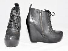 "Steve Madden ""Mikkii""Black Leather Concealed Sole Wedge Heel Ankle Boots Size 8M"