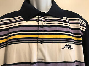 "PAGE & TUTTLE Men's Polo Shirt Strip Multi Colors""L""94%Polyester 6%Spandex-India"