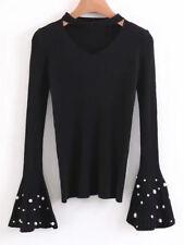 Women Sweater Pullovers Tops Blouse Coat Choker Flare Long Sleeve Faux Pearl