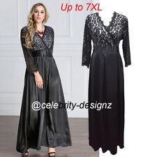 pld49 PLUS SIZE Women Black Lace Maxi Cocktail Evening Dress 16 18 20 22 24 26