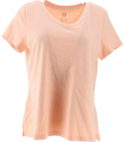 Isaac Mizrahi Live! Essentials Pima Cotton V-Neck T-Shirt- Powder Peach,Size XS