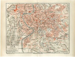 1899 ITALY ROME CITY PLAN Antique Map dated