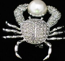 SILVER PEARL OCEAN SEA LIFE FIDDLER STONE CRAB CRUSTACEAN PIN BROOCH JEWELRY 2""