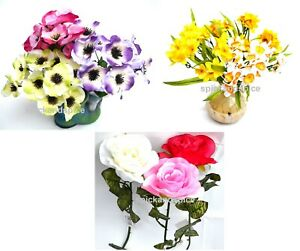Real Look  Artificial Fake Flowers Spray Bush Wedding Home Gift  Easter Deco