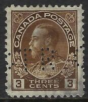 Perfin G14-GTR Grand Trunk Railway: Scott 108, 3c King George V Admiral, Pos. 1
