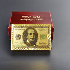 24K Karat 99.9% PURE GOLD PLATED 100 Dollar Playing cards DECK WITH WOODEN BOX