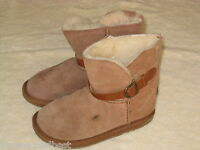 EMU FRANKIE KIDS GIRLS CHESTNUT LEATHER FUR LINED SNOW WINTER BOOTS SIZE 1 GREAT
