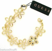 NEW GUESS GOLD TONE FLOWER+CRYSTAL GEM LOBSTER-STYLE CLASP WOMEN'S BRACELET