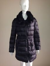 Victoria's Secret XL Belted Puffer Coat Faux Fur Collar Long Length Trench Black