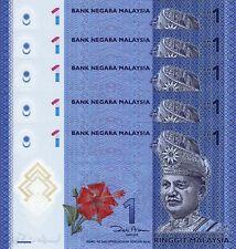 MALAYSIA 1 RINGGIT 2012 UNC 5 PCS CONSECUTIVE LOT POLYMER P.51