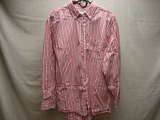 Old Navy L Large Red White Pink Striped Button Men's Dress Shirt 100% Cotton