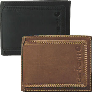 Carhartt Wallet Men's Detroit Passcase Bifold Leather Wallets Brown or Black