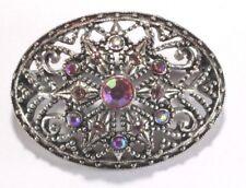 - Pink & Ab Rhinestones - Silver Tone Brooch Pin - Oval - Filigree - Flower