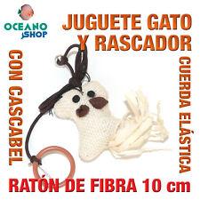 JUGUETE RASCADOR GATO RATON CUERDA COLA NATURAL + CASCABEL 10 cm L136 3576