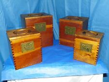 VINTAGE AMERICANA WOOD NESTING CANISTER W/ DOVE TAIL EAGLE GOLD PLATE- SET OF 4