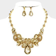 Formal Pageant Victorian Teardrop Gold Champagne Topaz Statement Necklace Set
