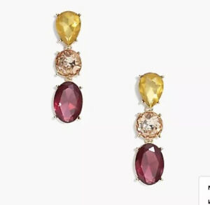 J.Crew Factory TRIPLE DROP CRYSTAL STATEMENT EARRINGS! SOLD OUT' PINK New$39.50