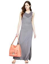 M&S Lilac Grey Lattice Neckline Side Split Maxi Dress Size 18 BNWT
