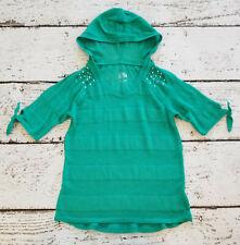 Justice Girls Green Short Sleeve Hooded Light Sweater Gemstones 10 Vguc